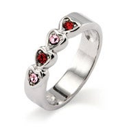 4 Stone Band of Hearts Family Ring