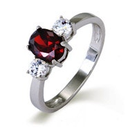 3 Stone Oval Cut CZ Mother's Ring in Sterling Silver