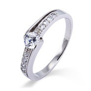 Petite Brilliant Cut CZ Promise Ring with Side Accents