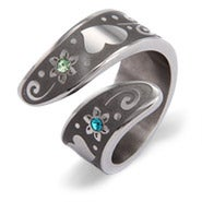 Personalized Couples Birthstone Ring with Flower Design