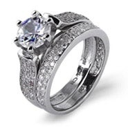 Dazzling Brilliant Cut 1.25 Carat Pave CZ Engagement Set