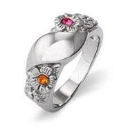 Custom 2 Stone Initial Flower Birthstone Ring