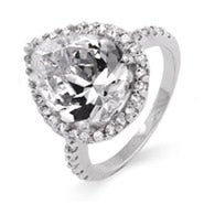 Stunning 4 Carat Pearcut CZ Silver Engagement Ring
