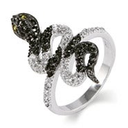 Sterling Silver Black and White CZ King Snake Ring