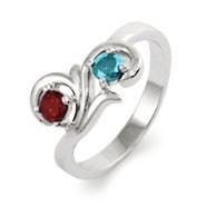 Two Birthstone Swirl Design Sterling Silver Ring