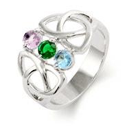 3 Stone Celtic Trinity Birthstone Ring