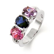 Engravable 3 Stone Oval Cut Birthstone Ring