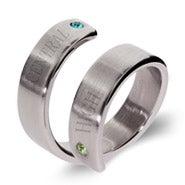 2 Stone Engravable Crossover Graduation Ring
