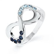 Engravable Couples Birthstone Infinity Ring