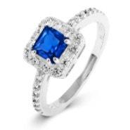 Delicate Princess Cut Sapphire CZ Promise Ring