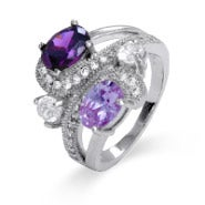 Sterling Silver Fancy Swirl 4 Stone Family Birthstone Ring