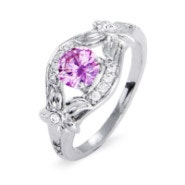 Custom CZ Lily Flower Birthstone Ring