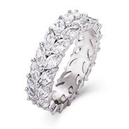 Sterling Silver Marquise Cut CZ Eternity Band