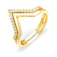 Double Chevron CZ Gold Ring