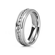 Men's CZ Engravable Eternity Band with Milgrain Edge