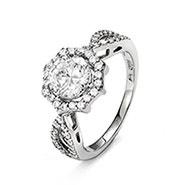 Elegant Brilliant Cut Halo CZ Engagement Ring