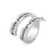 I Love You To The Moon and Back Couples Birthstone Ring