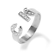 Two Initial Diamond Cuff Ring in Silver