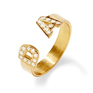 Two Initial Diamond Cuff Ring in Gold