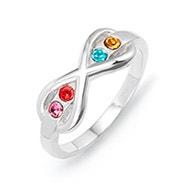 4 Stone Sterling Silver Infinity Birthstone Ring