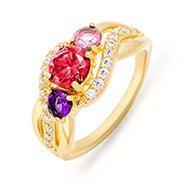 3 Stone Gold Infinity Swirl Custom Birthstone Mother's Ring