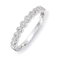 14K White Gold Milgrain Bubbles Diamond Promise Ring