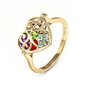Key To My Heart Birthstone Gold Locket Ring