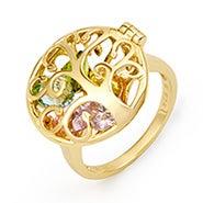 Family Tree Birthstone Gold Locket Ring