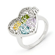 I Love You To The Moon and Back Birthstone Silver Locket Ring