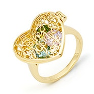 I Love You To The Moon and Back Birthstone Gold Locket Ring