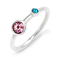 Mother and Child Custom Birthstone Silver Ring