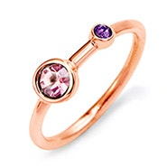 Mother and Child Birthstone Rose Gold Ring