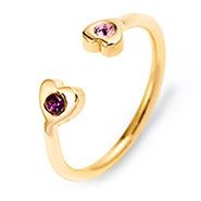 Two Heart Birthstone Couples Gold Cuff Ring