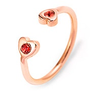 Two Heart Birthstone Couples Rose Gold Cuff Ring