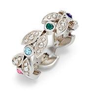 7 Stone Leaf Design Silver Birthstone Ring