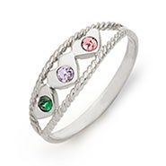 Three Birthstone Twisted Rope Silver Mother's Ring