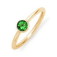 Bezel Set Solitaire Birthstone Gold Ring