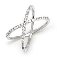 CZ Silver X Ring