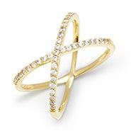 CZ Gold X Ring