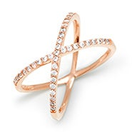 CZ Rose Gold X Ring