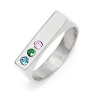 3 Stone Silver Birthstone Name Bar Ring