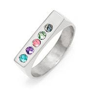 5 Stone Silver Birthstone Name Bar Ring