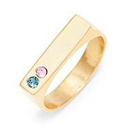 2 Stone Gold Birthstone Name Bar Ring