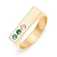 3 Stone Gold Birthstone Name Bar Ring
