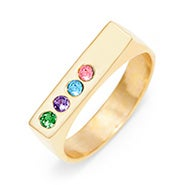 4 Stone Gold Name Birthstone Bar Ring