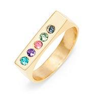 5 Stone Gold Name Birthstone Bar Ring