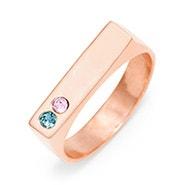 2 Stone Rose Gold Birthstone Name Bar Ring