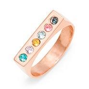 6 Stone Rose Gold Birthstone Name Bar Ring