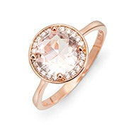 Morganite Brilliant Cut Halo Rose Gold Engagement Ring