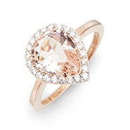 Morganite Pear Cut Rose Gold Engagement Ring